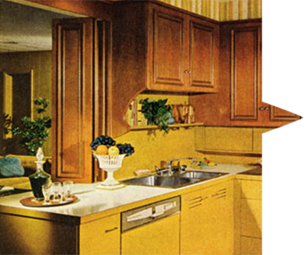 Kitchen design evolution history online kitchens uk for 70s style kitchen cabinets